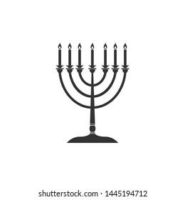 Hanukkah menorah icon isolated. Religion icon. Hanukkah traditional symbol. Holiday religion, jewish festival of Lights. Flat design