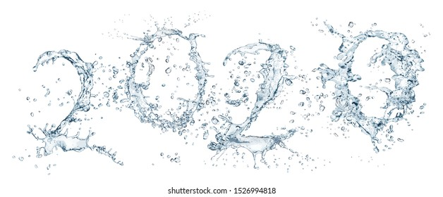 Happiness for the New Year with water splashes