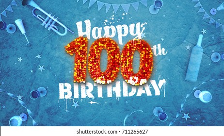 Happy 100th Birthday Card with beautiful details such as wine bottle, champagne glasses, garland, pennant, stars and confetti. 3D design for printed cards and social media.