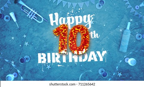 Happy 10th Birthday Card with beautiful details such as wine bottle, champagne glasses, garland, pennant, stars and confetti. 3D design for printed cards and social media.