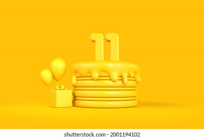 Happy 11th Birthday celebration cake with present and balloons. 3D Rendering