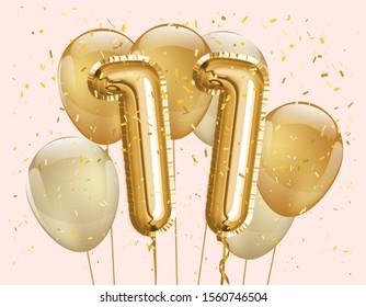 "Happy 11th birthday gold foil balloon greeting background. 11 years anniversary logo template- 11th celebrating with confetti. ""illustration 3D"""
