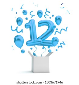 Happy 12th birthday blue surprise balloon and box. 3D Rendering