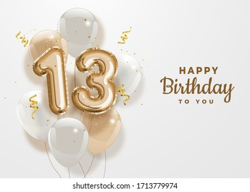 Happy 13th birthday gold foil balloon greeting background. 13 years anniversary logo template- 13th celebrating with confetti. Illustration stock.