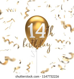 Happy 14th birthday gold balloon greeting background. 3D Rendering