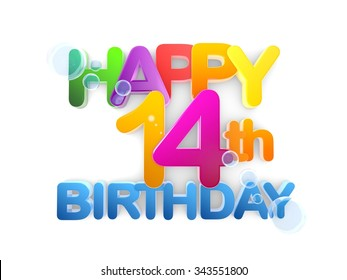 Happy 14th Birthday Title in big letters light