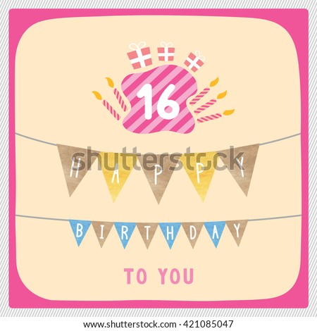 Happy 16th Birthday Anniversary Card With Gift Boxes And Candles