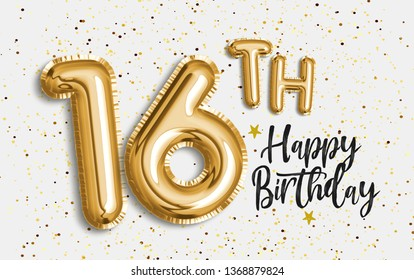 Happy 16th birthday gold foil balloon greeting background. 16 years anniversary logo template- 16th celebrating with confetti. Photo stock
