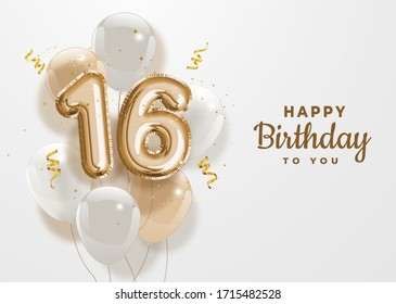 Happy 16th birthday gold foil balloon greeting background. 16 years anniversary logo template- 16th celebrating with confetti. Illustration 3D.