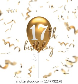 Happy 17th birthday gold balloon greeting background. 3D Rendering