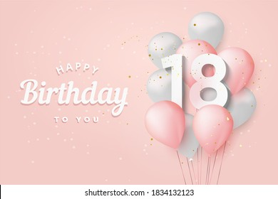 """Happy 18th birthday balloons greeting card background. 18 years anniversary. 18th celebrating with confetti. """"Illustration 3D"""""""