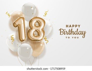 Happy 18th birthday gold foil balloon greeting background. 18 years anniversary logo template- 18th celebrating with confetti. Illustration 3D
