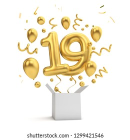 Happy 19th birthday gold surprise balloon and box. 3D Rendering