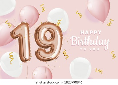 """Happy 19th birthday pink foil balloon greeting background. 19 years anniversary logo template- 19h celebrating with confetti. """"Illustration 3D"""""""
