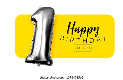 Happy 1st birthday yellow greeting background. 3D Rendering