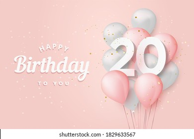 Happy 20th birthday balloons greeting card background. 20 years anniversary. 20th celebrating with confetti.