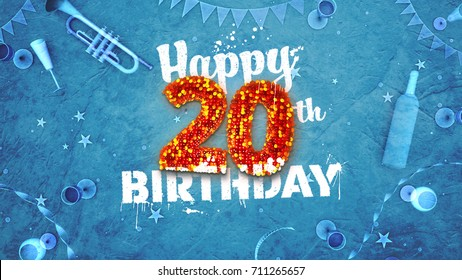 Happy 20th Birthday Card with beautiful details such as wine bottle, champagne glasses, garland, pennant, stars and confetti. 3D design for printed cards and social media.