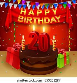Happy 20th Birthday with chocolate cream cake and triangular flag
