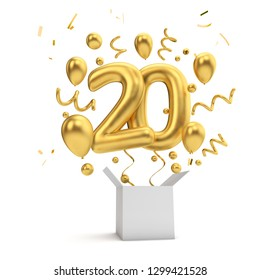 Happy 20th birthday gold surprise balloon and box. 3D Rendering