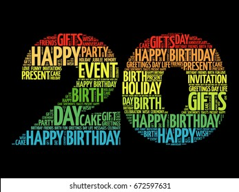 Happy 20th birthday word cloud collage concept