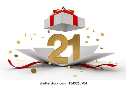 Happy 21st birthday gold surprise boxwith red ribbon. 3D Rendering