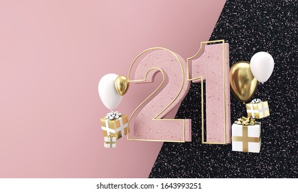 Happy 21st birthday party celebration. Modern marble composition 3D Render
