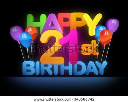 Happy 21st Birthday Title In Big Letters Dark