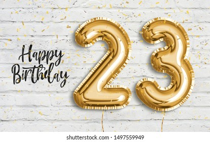 Happy 23 th birthday gold foil balloon greeting white wall background. 23 years anniversary logo template- 23th celebrating with confetti. Photo stock.