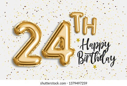 Happy 24th birthday gold foil balloon greeting background. 24 years anniversary logo template- 24th celebrating with confetti. Photo stock.