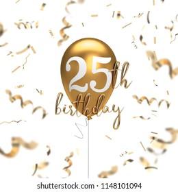 Happy 25th birthday gold balloon greeting background. 3D Rendering
