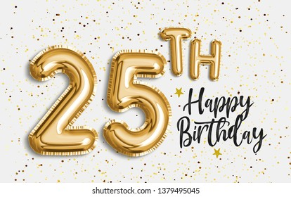 Happy 25th birthday gold foil balloon greeting background. 25 years anniversary logo template- 25th celebrating with confetti. Photo stock.