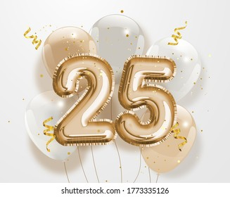 """Happy 25th birthday gold foil balloon greeting background. 25 years anniversary logo template- 25th celebrating with confetti. """"Illustration 3D"""""""