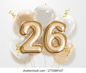"Happy 26th birthday gold foil balloon greeting background. 26 years anniversary logo template- 26h celebrating with confetti. ""Illustration 3D"""