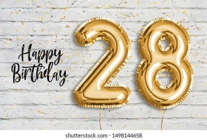 Happy 28 th birthday gold foil balloon greeting white wall background. 28 years anniversary logo template- 28th celebrating with confetti. Photo stock.