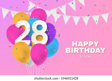 Happy 28th birthday balloons greeting card background. 28 years anniversary. 28th celebrating with confetti. Illustration stock