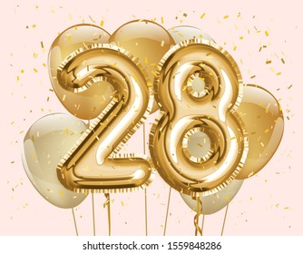 """Happy 28th birthday gold foil balloon greeting background. 28 years anniversary logo template- 28th celebrating with confetti. """"illustration 3D"""""""