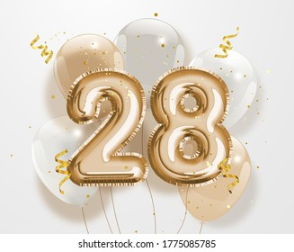 """Happy 28th birthday gold foil balloon greeting background. 28 years anniversary logo template- 28th celebrating with confetti.""""Illustration 3D"""""""