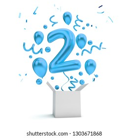 Happy 2nd birthday blue surprise balloon and box. 3D Rendering