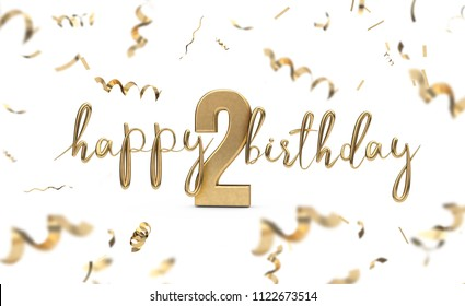 Happy 2nd birthday gold greeting background. 3D Rendering