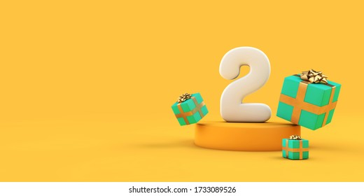 Happy 2nd birthday number and gifts on a yellow podium. 3D Render