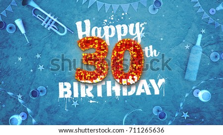 Happy 30th Birthday Card With Beautiful Details Such As Wine Bottle Champagne Glasses Garland