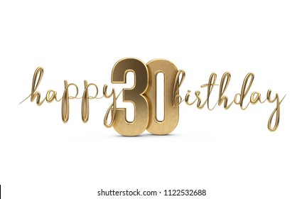Happy 30th birthday gold greeting background. 3D Rendering