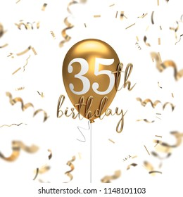 Happy 35th birthday gold balloon greeting background. 3D Rendering