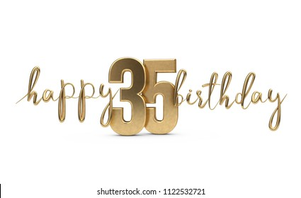 Happy 35th birthday gold greeting background. 3D Rendering