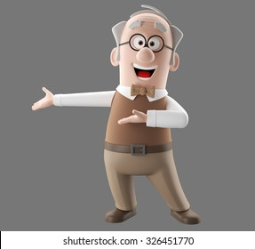 Happy 3d cartoon icon of vital old man, grandfather retired, in a brown suit with a vest with bow tie, isolated without background, diopter glasses on the eyes