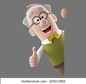Happy 3d cartoon icon of vital old man, grandfather retired, in a green vest with bow tie, isolated without background, diopter glasses