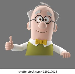 Happy 3d cartoon icon of vital old man, grandfather retired, in a green vest with bow tie, isolated without background, diopter glasses, thumbs up