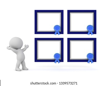 Happy 3D character with four large framed diplomas. Isolated on white background.