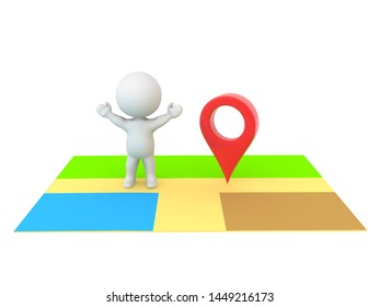 Happy 3D Character standing on map next to red location pin. 3D Rendering isolated on white.