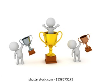 Happy 3d characters with trophies. Isolated on white background.